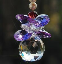 hanging window small Crystal feng shui ball prism lilac ornament suncatcher gift