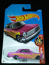HOTWHEELS 7/10 HW FLAMES 63 CHEVY II PINK CLASSIC CAR 14/365 2015 HOT WHEELS