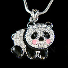 w Swarovski Crystal ~Black White Enamel Cute PANDA BEAR Chinese Necklace Jewelry