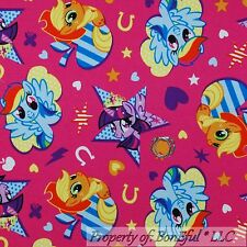 BonEful FABRIC FQ Cotton Jersey KNIT My Little Pony Horse Shoe Character Star Lg