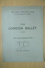 THE ARTS THEATRE CLUB THE LONDON BALLET PROGRAMME,, 30th NOVEMBER 1939
