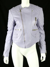 BALENCIAGA $2,865 Lavender Quilted Lambskin Leather Moto Biker Jacket 42