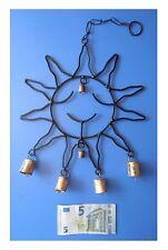 Pendente in metallo sole 6 campanelle, artigianato indiano