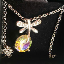 Dragonfly Dance Necklace Clear stone Silver tone chain Extension chain FREE SHIP