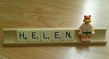 HANDMADE PERSONALISED DESK NAME PLATE PLAQUE & SANDY (SPONGEBOB)  MINI FIGURE