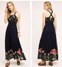 NWT $228 ANTHROPOLOGIE TULIPAN EMBROIDERED MAXI DRESS BY FLOREAT, SIZE 8
