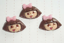 Kawaii Cute Brown Dora the Explorer Plastic harms Cabochons x 3 Kitsch 80s