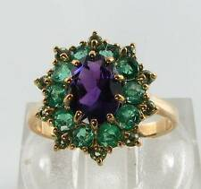 LARGE 9CT 9K GOLD ART DECO AMETHYST EMERALD PERIDOT CLUSTER RING FREE RESIZE