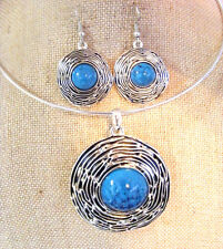 TIBETAN SILVER WIRE COLLAR TURQUOISE CABOCHON CONCENTRIC CIRCLE NECKLACE