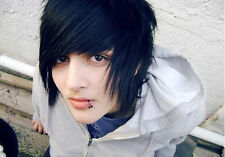 Men's EMO Black Human Hair Wig Cosplay Halloween Goth Costume Realistic Short
