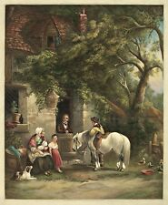 """Country Farm House, Horse, Dog, Frost, Country, antique print, 20x16"""" CANVAS ART"""