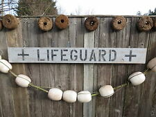 "48 INCH WOOD HAND PAINTED ""LIFEGUARD"" SIGN NAUTICAL SEAFOOD (#S327)"