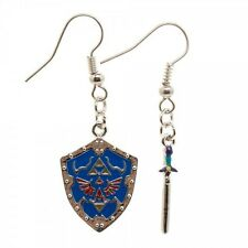 NINTENDO LEGEND OF ZELDA MASTER SWORD SHIELD DANGLE EARRINGS TRIFORCE LOGO RETRO