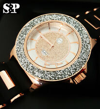 Luxury Rose Gold Hip Hop Iced Out Techno Pave Diamond Cut Rapper Silicone Watch