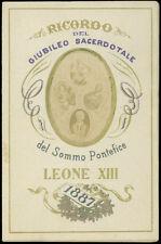 santino fotografico di fine '800-S.S. LEONE XIII PAPA GIUBILEO SACERDOTALE 1887