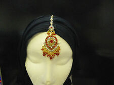 KUNDAN STONES HAIR HEADPIECE TIKKA JHUMAR HEAD JEWELLERY INDIAN BOLLYWOOD-T1A