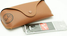 Ray Ban Button Brown Leather Sunglasses Case W Cleaning Cloth New & Authentic