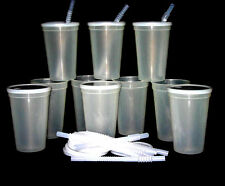 12 -Large 20 Oz. Glow in the Dark Plastic Drinking Glasses Lids Straws Mfg USA