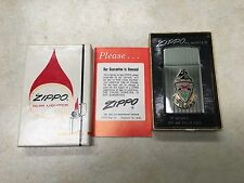 Vintage 1977 HP Ribbon Bradford Slim Lighter #1615 Zippo With Box and Papers.