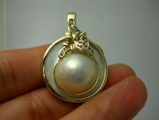STUNNING 14K YG MOTHER OF PEARL & DIAMOND PEARL ENHANCER SLIDER/PENDANT E3873