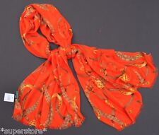 RALPH LAUREN POLO Women LARGE WINTER SCARF BRIDLE EQUESTRIAN ORANGE Gift Idea