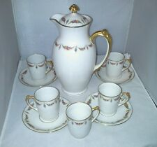 Antique J Pouyat Limoges France Chocolate Set Pot 5 Cups  Saucers Floral Swags