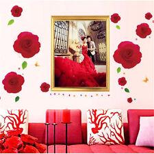 Grande Rosa Rosa, Fiore Sticker Adesivi Murali Decal Da Parete, Arte Arredo Casa