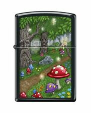 Zippo 0586, Fairy Land-Woods, Black Matte Lighter, Full Size