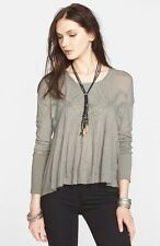 125438 New Free People Hope Babydoll Lace Dolman Sleeve High Low Blouse Top XS