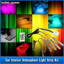 4x 9-LED RGB 5050 Colorful Car Atmosphere Interior Light Neon Lamp Strip DC 12V