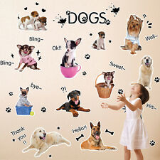 13Pcs PUPPIES DOGS Wall Stickers Room Decor PAW PRINTS Decals Mural Lovely Dogs
