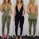 UK Womens Khaki V Neck Plunge Bodycon Multiway Strappy Jumpsuit Sexy Party Dress