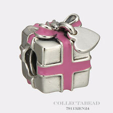 Authentic Pandora Silver Wrapped With Love Pink Enamel Bead 791132EN24 *LAST ONE