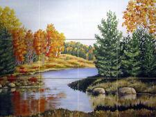 24 x 18 Landscape River Forest Trees Ceramic Mural Backsplash Bath Tile #2198