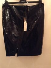 BNWT��Lipsy Rock & Religion��Size 12 Crocodile Effect Black Zip Skirt RRP £40