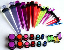 36pc Tapers Plugs Ear Stretching Kit gauges UV Color 00g 2g 4g 6g 8g 10g 14g