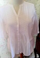 NWT-MINT! TALBOTS Cotton Dotted Swiss Pin-tucked Front Shirt-Plus 2XP-White
