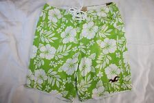 NEW W/TAGS MENS XS HOLLISTER NEON GREEN FLORAL SWIM BATHING SUIT TRUNKS SHORTS