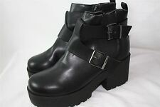 Womens NWD Size 6 UK River Island Black Ankle Boots Shoes Platform RRP £40