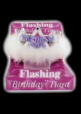 Flashing Birthday Girl Tiara Crown Women's Girls with Feathers and Marabou Trim