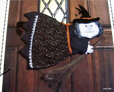 "Vtg 80s Patch Press Halloween Whimsy Witch pattern door greeter 14"" Wallhanging"