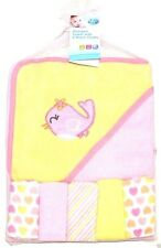 """Pink Bird"" Soft hooded Towels & 5 Wash Clothes Gift Set For New Born Babies"