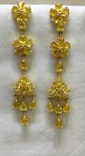 14k Solid Yellow Gold Dangle Stud Earrings W/Natural Yellow Sapphire 6.86CT6.15G