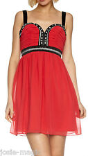Lipsy UK 8 Embroidered/Embellished Babydoll Chiffon Party Dress in Cherish Red