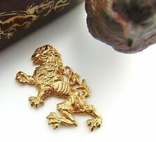 BRASS English Griffin Rampant Dragon LION Stamping - Brass Finding (FB-6055)