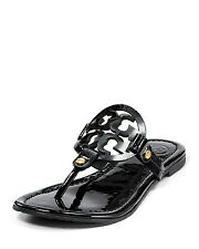 $195 TORY BURCH MILLER PATENT LEATHER BLACK SANDALS SIZE 10