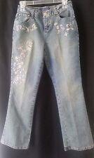 BACCINI Boot Cut Blue Denim Jeans With Floral Gems Design Size 6 P Petites