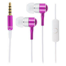 Pink / White Universal 3.5mm Chrome In Ear Earphones Headphones Remote & Mic