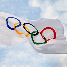 Summer Olympic Flag 5 x 3 FT 100% Polyester With Eyelets Banner Sign Rings Hot