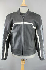 TUZO BLACK, SILVER & WHITE LEATHER BIKER JACKET 40 INCH